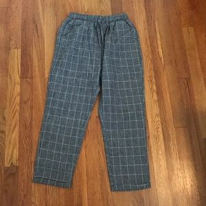 Drawstring Plaid Pants